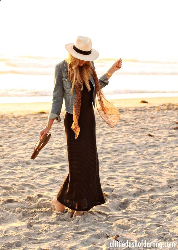 15. A completely effortless look is a maxi dress with a cute hat. Add a jean jacket if it's going to be chilly.