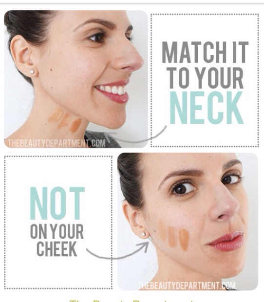 Match it to your neck! The neck does not get the sun exposure the face gets so it's truer to your natural shade ....