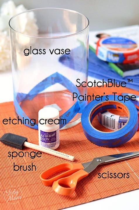 Tools and Materials  Glass surface for etching Stencils, vinyl stick-on letters, or decorative tape Contact paper (to make your own stencil) Craft knife (to make your own stencil) Bone folder Painters' tape Rubber gloves Paintbrush Etching cream Paper towels or sponge