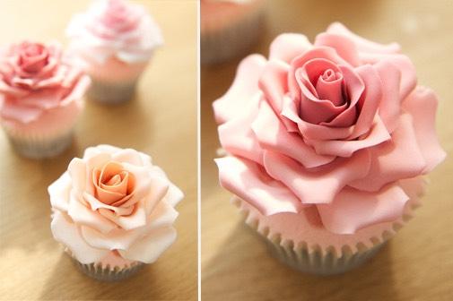 Real rose cupcakes