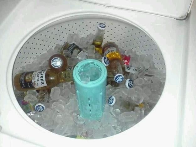 Great when you do not have a lot of fridge space. As ice melts the water will just drain away