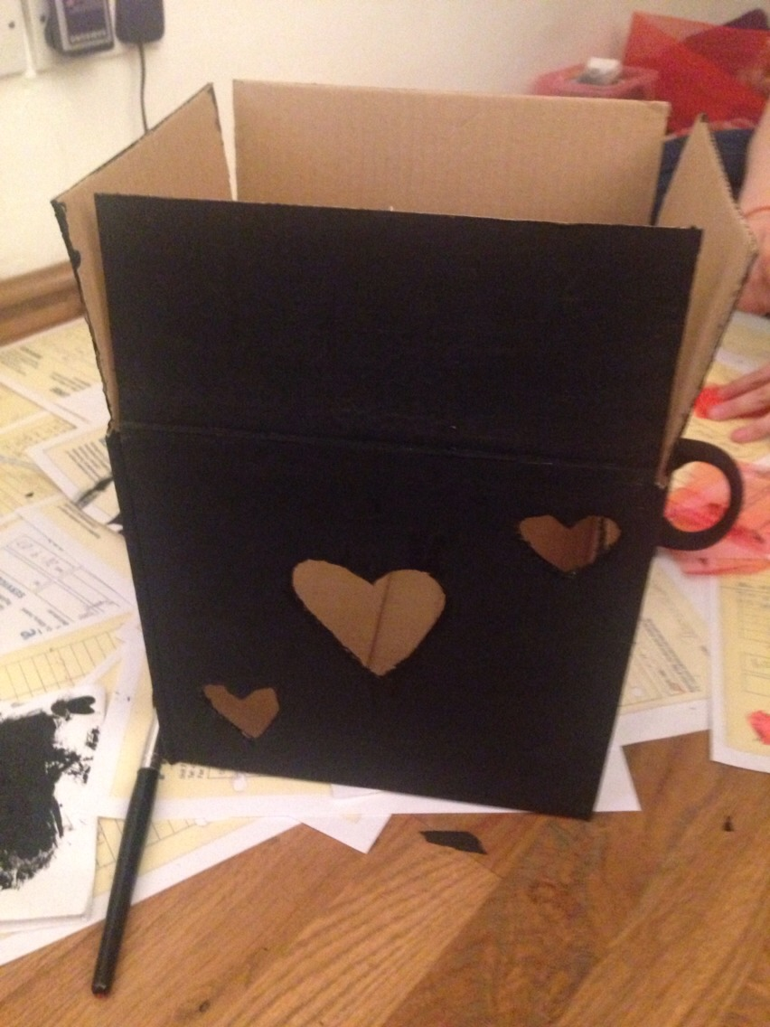Cut the hearts wherever you like, then begin cutting some material e.g. Lace, felt etc to fill the holes
