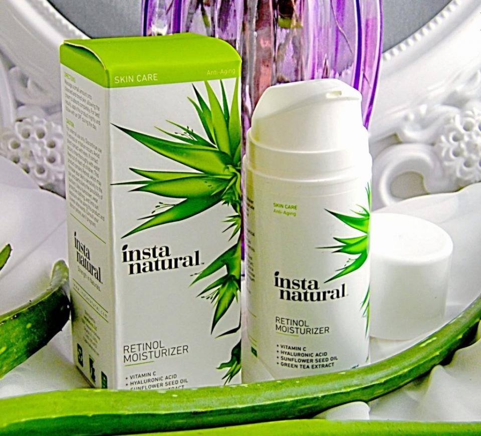 "Retinol: InstaNatural ""Retinol Moisturizer"" As we age, our collagen production slows, oil production decreases, and skin is less luminous and more easily dehydrated. Retinol has become a go-to skin miracle ingredient for clearing acne, shrinking pore, and regenerating skin. It also can make fine lines disappear, lighten age spots, and reduce sun damage. Trying products with retinol in them can be a little intimidating at first, but don't be afraid to dive right in because it's known to work fast and effectively!"