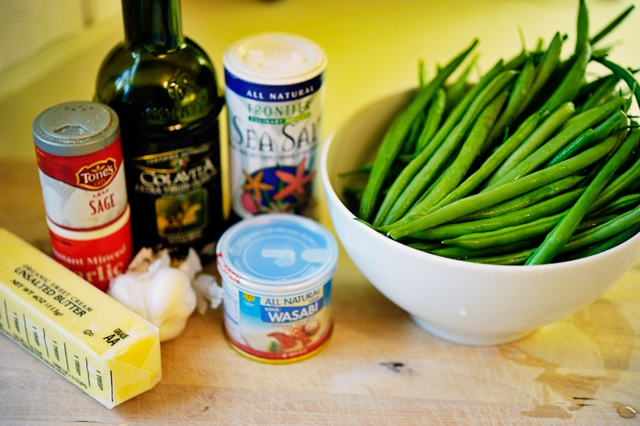 You will need:  ½ pounds Fresh Fine French Green Beans (Or Regular Green Beans) 2 Tablespoons Olive Oil, Divided ½ teaspoons Garlic Powder ½ teaspoons Ground Sage ½ teaspoons Wasabi Powder ¼ teaspoons Sea Salt 4 cloves Garlic 1 Tablespoon Butter