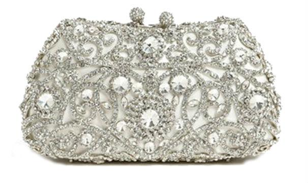 A bride who loves bling is sure to want this crystal encrusted clutch by her side.