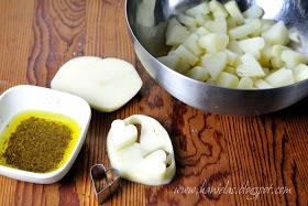 In the meantime peel potatoes, slice them, using a small metal cookie cutter cut out as many hearts as you can. Reserve scraps in water, you can also par-cook scraps or make mashed potatoes Cook potatoes in simmering water for 3 minutes, drain potatoes and let cool slightly.