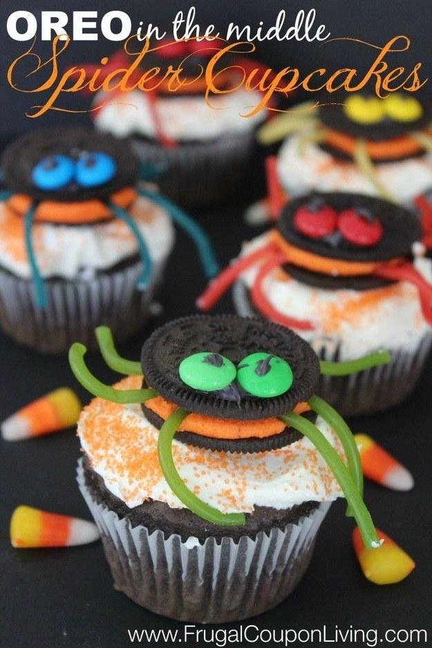 Recipe: http://www.frugalcouponliving.com/2014/09/27/halloween-oreo-stuffed-spider-cupcakes/