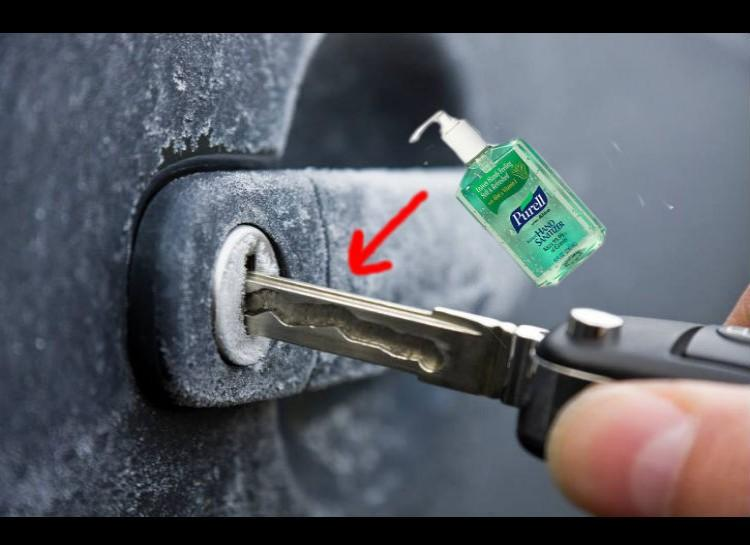 De-Ice Keyholes Just put some hand sanitizer on ur key as ur try to use it to unlock ur car. The alcohol in the hand sanitzer will melt the ice and shortly allow u to unlock ur car. Sometimes putting WD-40 in the keyhole before the winter will keep any ice from forming in there in the first place.