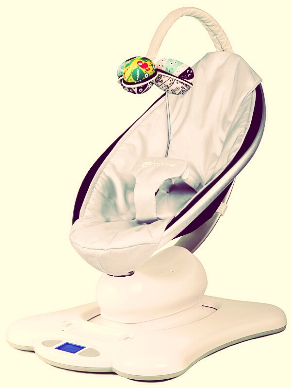 4moms mamaroo! A must have for your little one! Great for fussy babies. Puts mine to sleep instantly!! With 5 modes, music, and iPod hook up! You can't go wrong with this one!!!