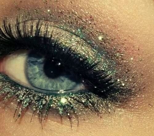 Accent eyes (from the lid to the lashes) with glitter. Don't be afraid of glitter!