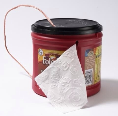 Use a old coffee container to keep toilet paper in. This is great because the toilet paper won't get dirty or wet you can take it any where and it's just really convenient.