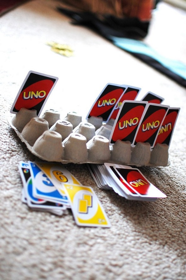 Egg cartons come in handy when playing card games.