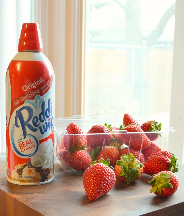 All you need are some strawberries, whipped cream and some clean kitchen use sticks....