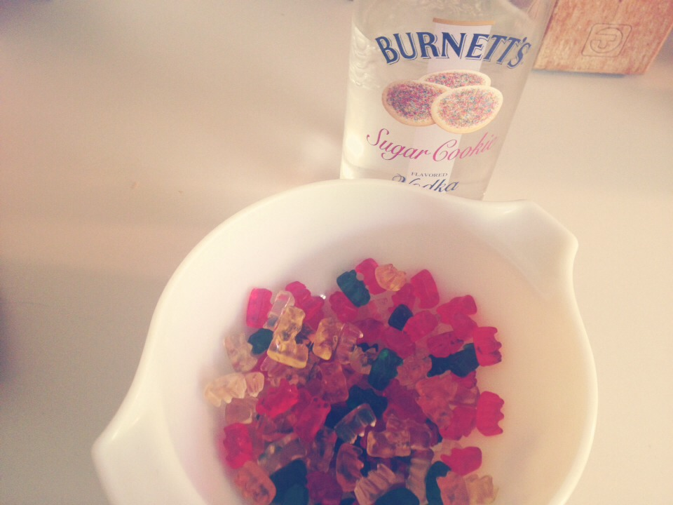 Put as many gummy bears you want and feel vodka till it covers all of them.