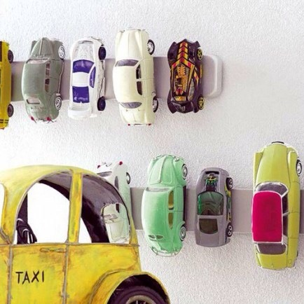 Knife Strips for Toy Cars  Magnetic knife holder strips are a perfect way to organize toy cars.