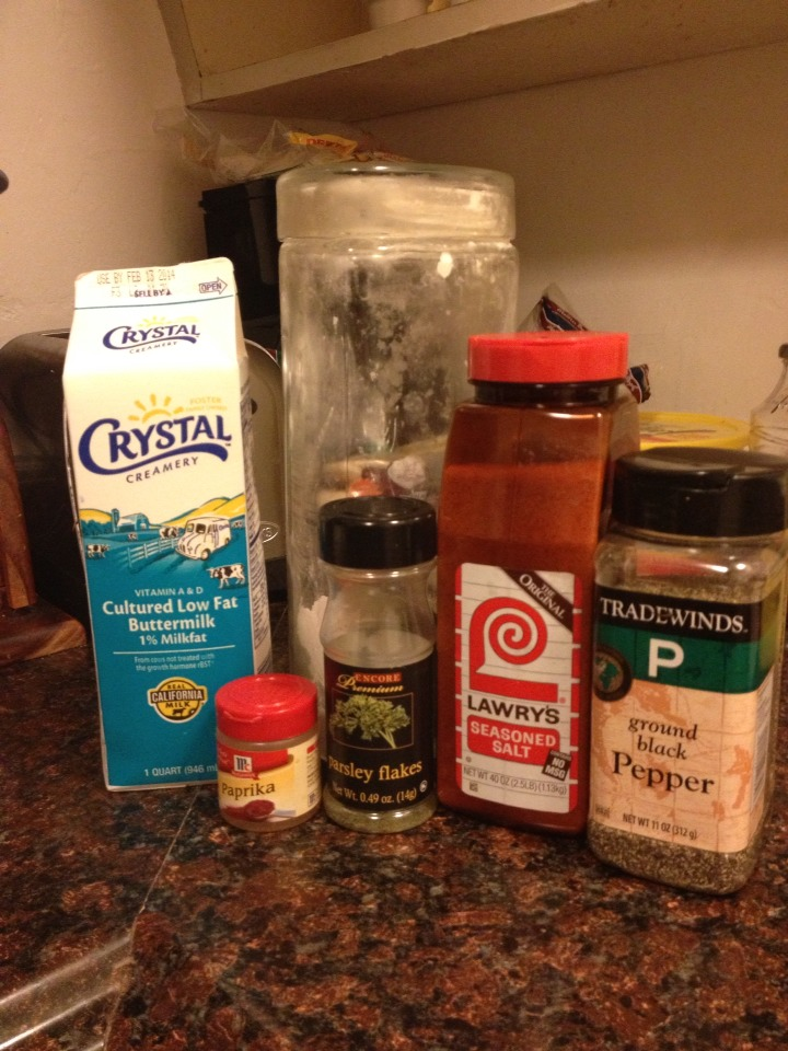 Then in a bowl mix together:   Flour Pepper Paprika  Parsley flakes  Season salt