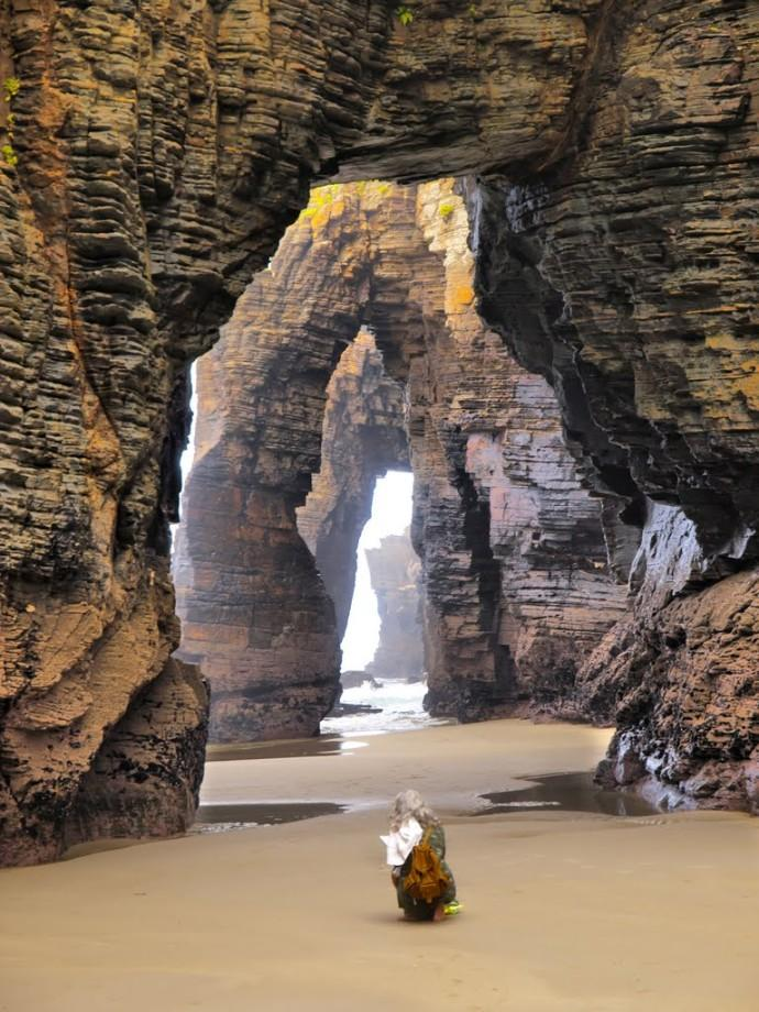 Beach of the Cathedrals This beach created by nature itself, is located in Playa de las cathedral's/Praia de Augas Santas, Ribadeo, Spain. The water ceaselessly pounds against the large rocks making a cathedral-like effect. It is only accessible during low tide.