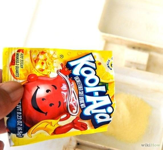 29. Pour a packet of lemonade Kool-Aid into the detergent cup of your dishwasher.