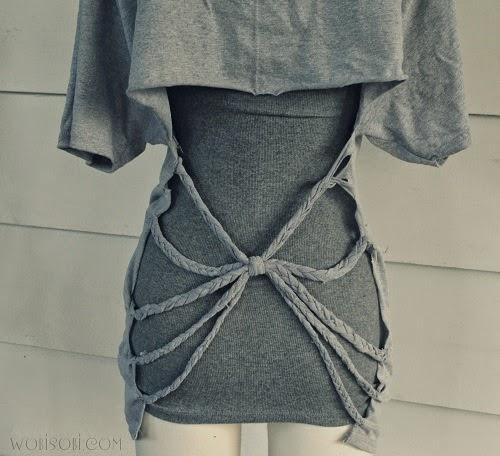 Using scrap piece of shirt, tie all braids together