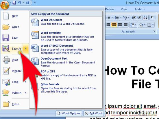 Tip 3: Change the Format of Your Doc File  •Open your corrupt Word document. Now from the 'File' menu click on 'Save As'.  •From the Save as type box, select Rich Text Format (RTF) (you can also select plain text) and save it.