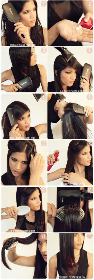 5. Get a little bend in your hair using this trick.  Once you've completely ironed your hair, drape the hot hair over a brush until it cools with a bend.