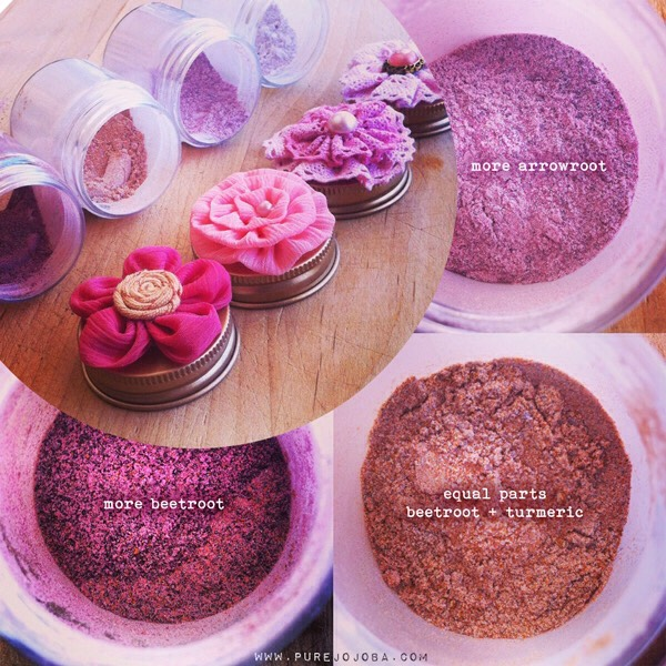 As you can see, my first blush has a significant amount of beetroot powder, where as the top right has more arrowroot to make it a lighter purple. By mixing equal parts beetroot + turmeric together with just a pinch of arrowroot, I was able to create a peachy blush (bottom right). BONUS!! All of the blushes you make can be used as a lip stain as well! Keep reading to see what I mean!