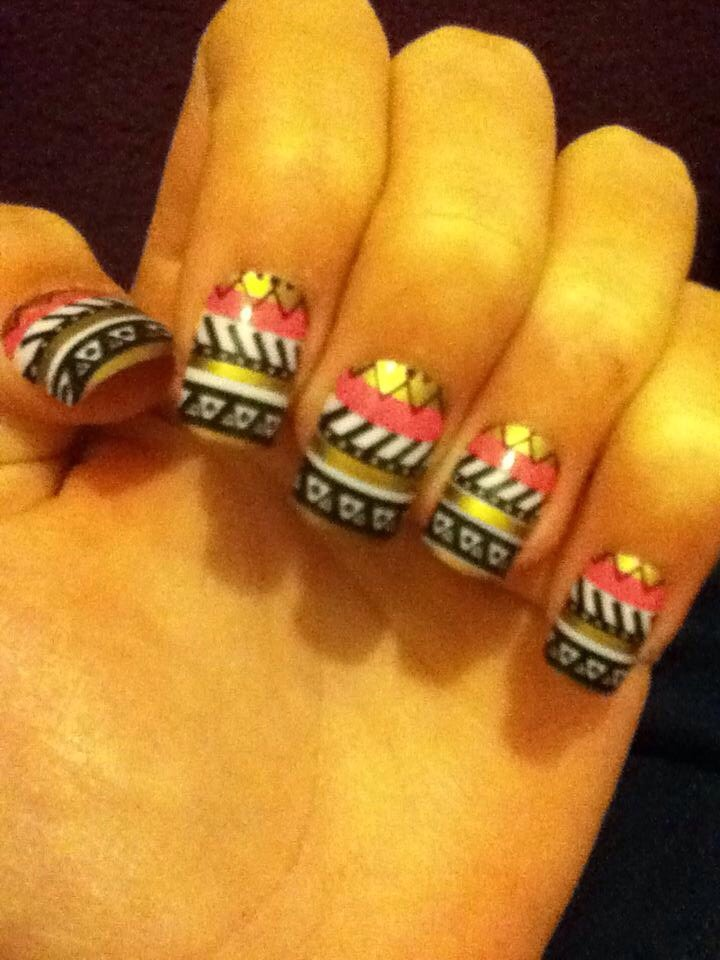 Aztec nails from Claire's! £6