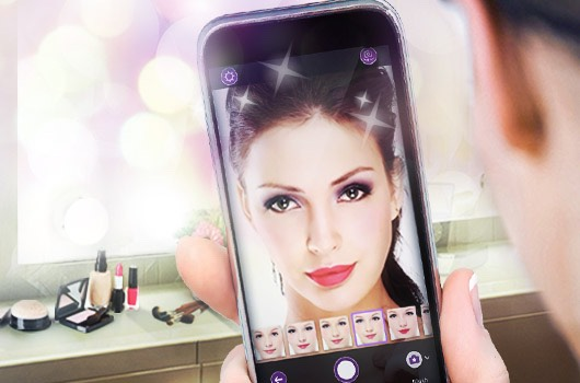 Download the app called YOUCAM MAKEUP and done!