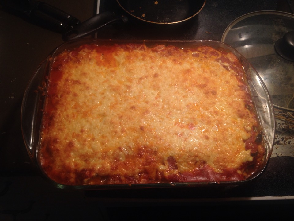 Voila! ** in my meat version i add ground meat to the mix and replace the cheese topping with bechamel sauce with a dash of nutmeg on top**