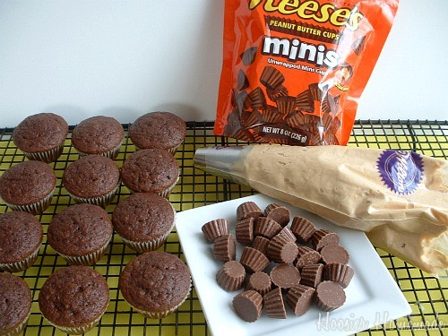 "While your cupcakes are drying take the mini Reese's cups and frost them as if they were regular cupcakes then after when you actually frost the real cupcakes you just put the ""mini cupcake"" on the cupcake on any position you want."
