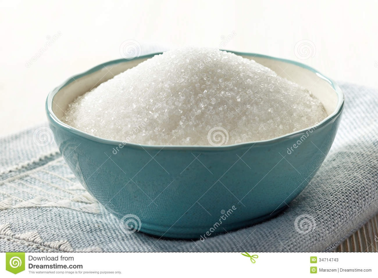 Put some sugar in a bowl. Not too much. Don't overfill it until it spills but add a good amount.