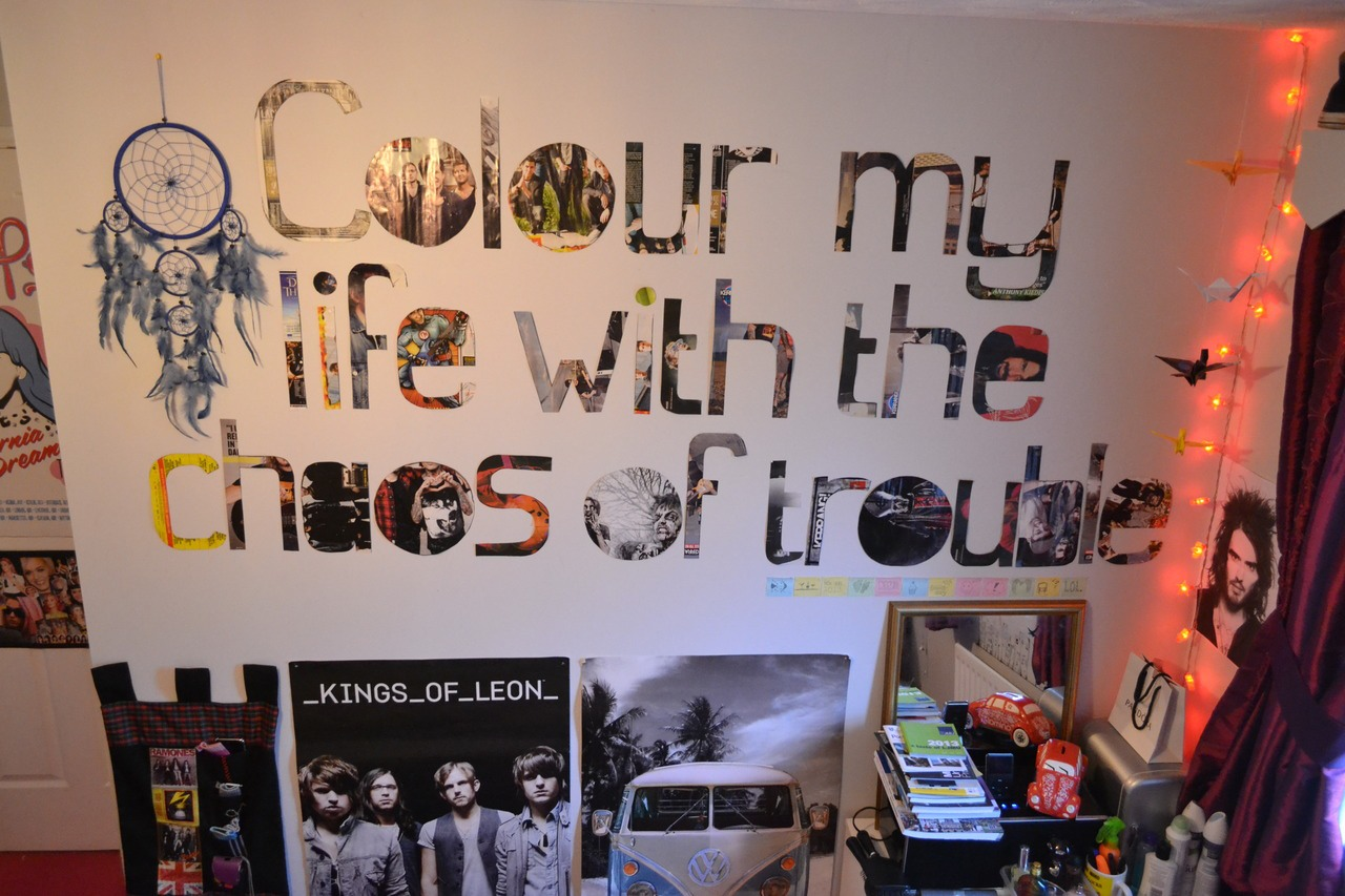 Add a favorite quote you like with cutting magazines into letters an taping it on the wall