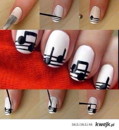 So artistic! 🎶🎵 Music note nail art designs! 💅
