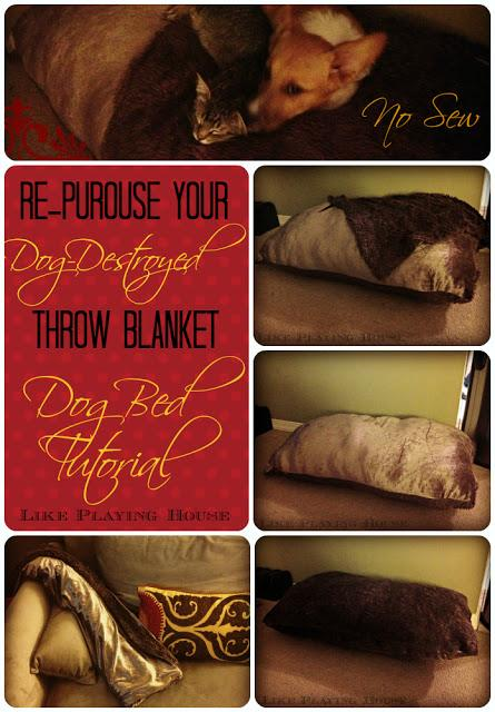 This tutorial is also unique because you can make the dog bed have its own attached blanket easily.