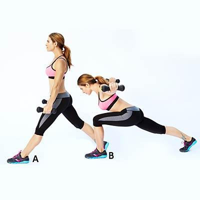 Crescent lunge with reverse fly