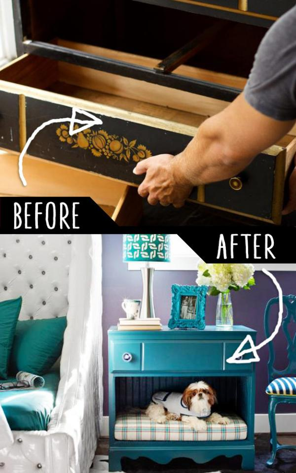 Dresser Into A Pet Bed And Nightstand   http://www.diynetwork.com/how-to/make-and-decorate/decorating/how-to-turn-a-dresser-into-a-pet-bed-and-nightstand