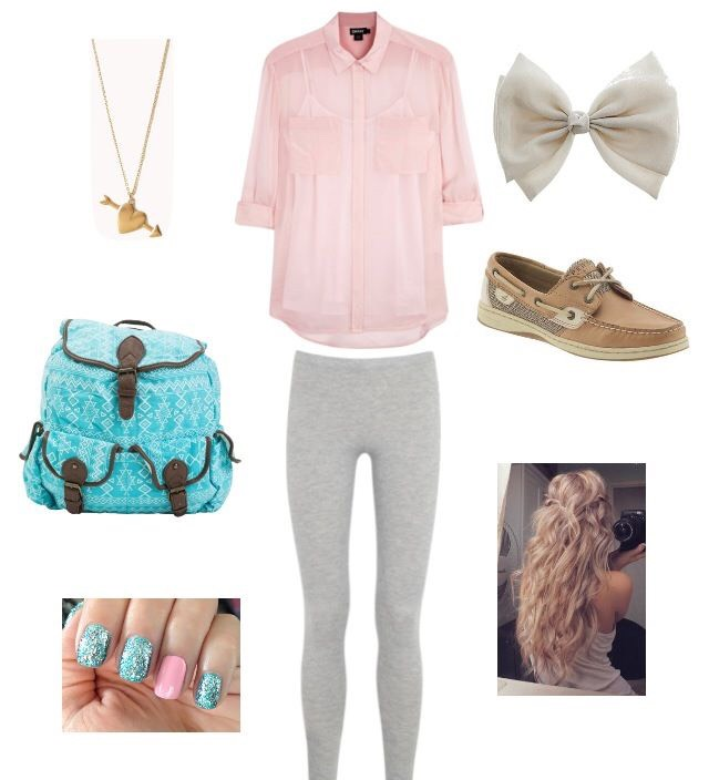 Cute nail polish some tights pink t-shirt any shoes a necklace and a bow sooo simple
