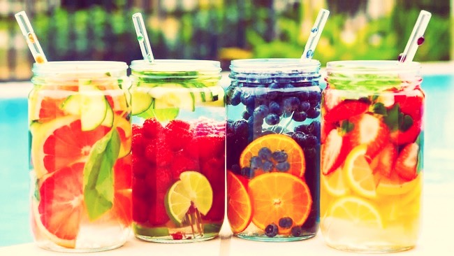 2. Drink a lot of water( Fruit water or Normal water) Fruit water you make it your self.You just add water and add cut fruits as many as you want. NO SUGAR ADDED
