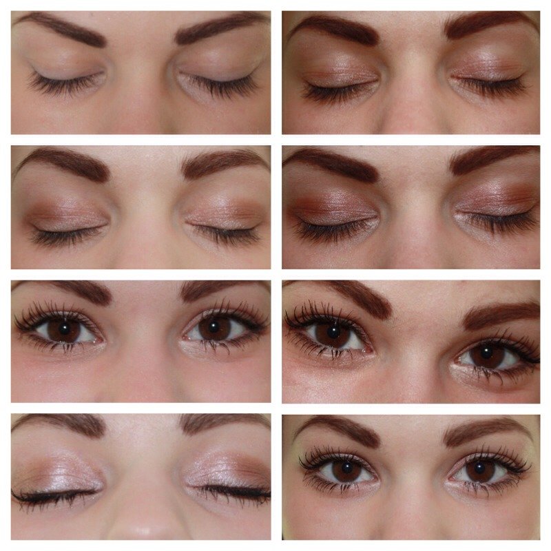 I use the Loreal Infallible Eyeshadow in 'I've Latte' for my lid, I use my A soft brown for my transition color and a darker, warm brown to darken my crease and I also put that same brown on my outer v, I line my top lash line with liquid liner, add mascara and the soft brown to my lower lash line.