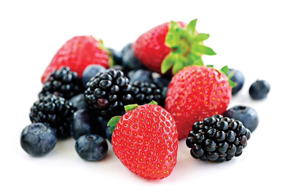 Frozen berries in chilled water, leave in fridge for an hour or two for flavors to infuse for a light fruity water