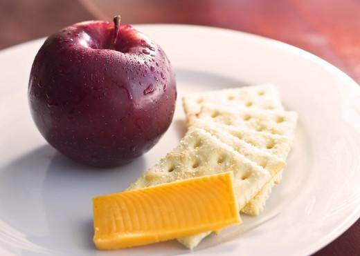 Day Three Breakfast  5 saltine crackers 1 slice cheddar cheese 1 small apple
