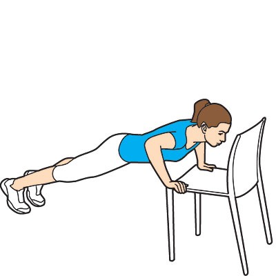 Push ups Sets: 3 Reps: 15  * you can always reverse this by putting your feet on the chair and doing a push up. Do the same amount of sets and reps as well