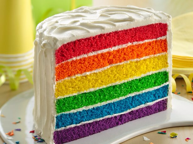 Have 3 egg whites 520g sponge cake mix  325ml water 2 tablespoons vegetable oil red paste food colouring orange paste food colouring yellow paste food colouring  green paste food colouring blue paste food colouring purple paste food colouring All the colours of rainbow