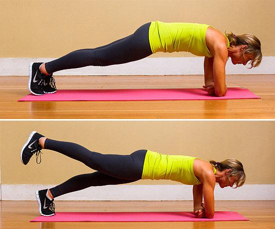 Plank leg lifts: This move is a little bit kinder, enabling you to exist on the ground for the period of the exercise. You can place a yoga floor covering or towel under you for this. You can also add weights to bump up the trouble.