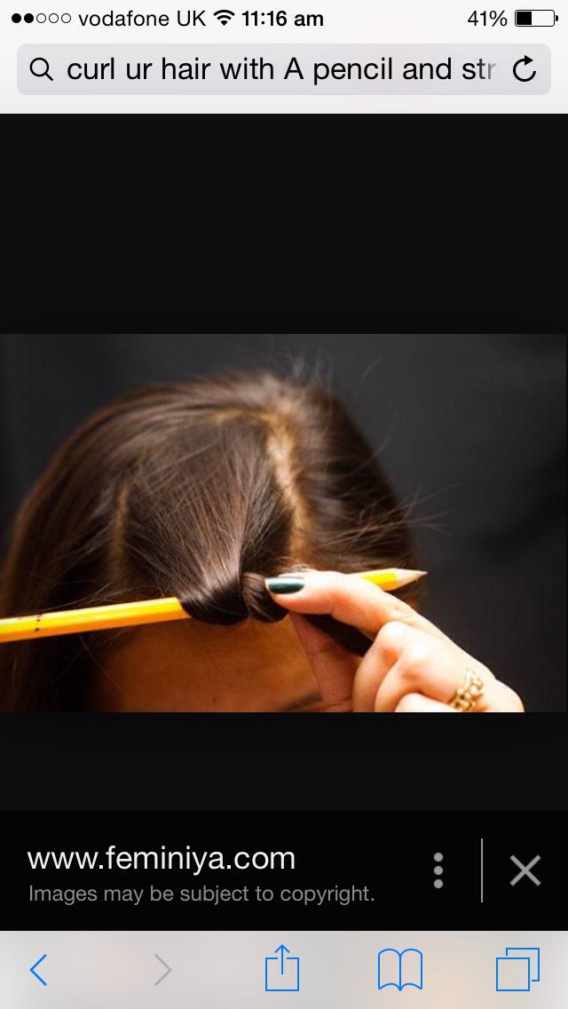 Wrap you hair round the pencil and hold your straightening iron on the hair for 10-15 seconds and let go unwrap your hair from the pencil ✏️