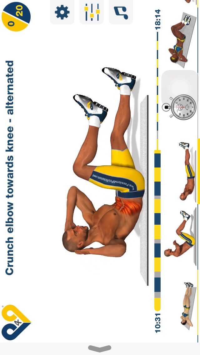 crunch elbow towards knee-alternated, keep your head and legs off the ground @ all times and try to touch your elbow to your opposite knee; 20 reps.