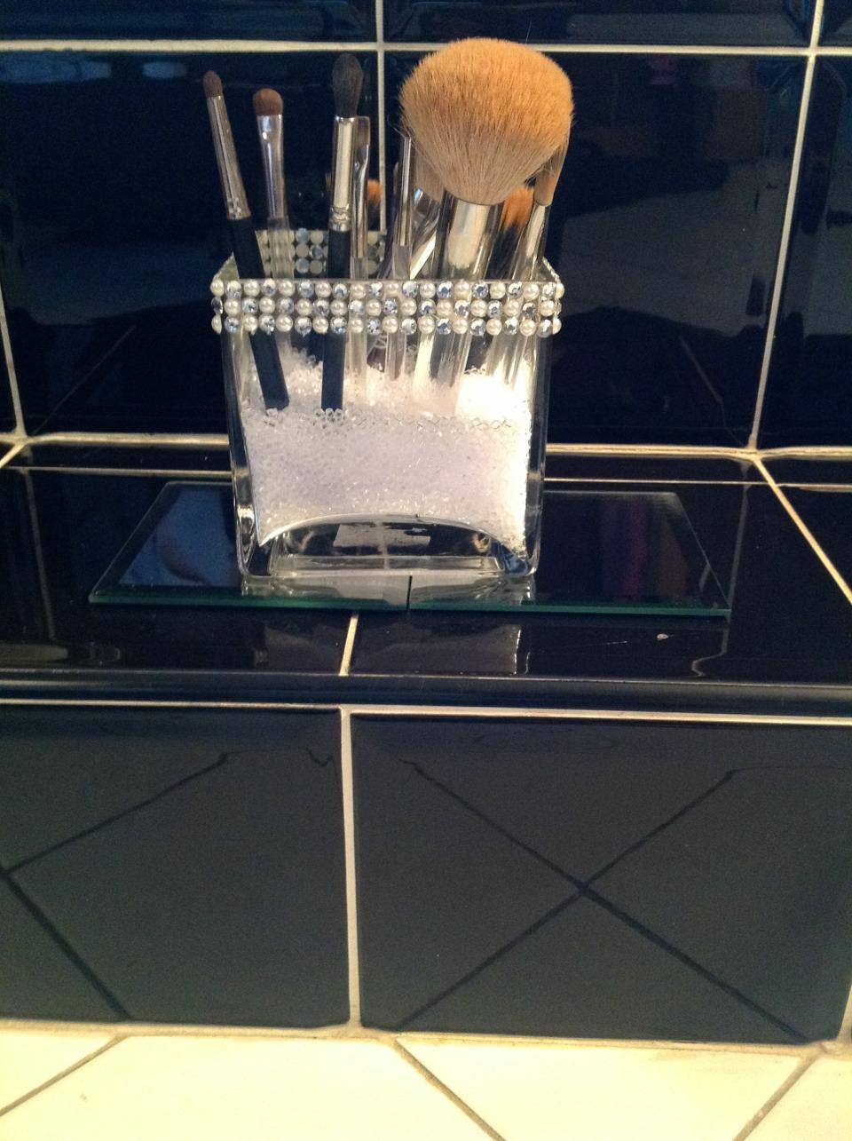 My pearl and rhinestone makeup brush holder