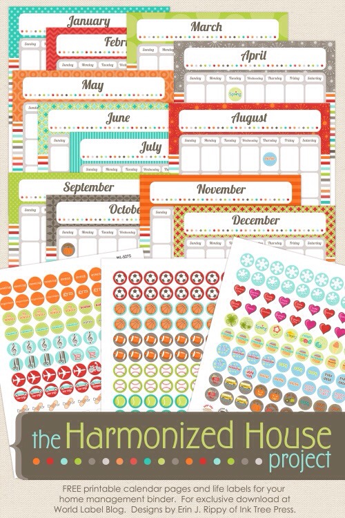 The folks at World Label have teamed up with Erin J. Rippy of Ink Tree Press to create these free printable calendar pages and life labels for their home management binders. These printables are part of several collections to come to help you organize your home.