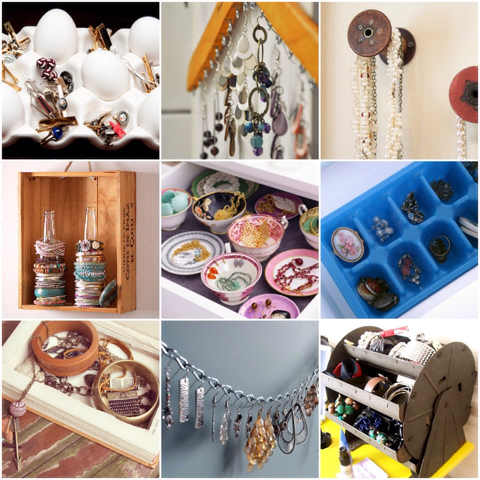 If you dread searching for your favorite earrings or untangling that perfect necklace I suggest you take a peek at these 10 adorable ways to store jewelry!!