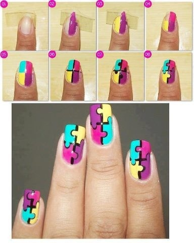 👆(Double tap for a fuller sized image)! 💢Cute Puzzle pieces nail tutorial!🎨 Ever so colourful and ever so cute! 💅